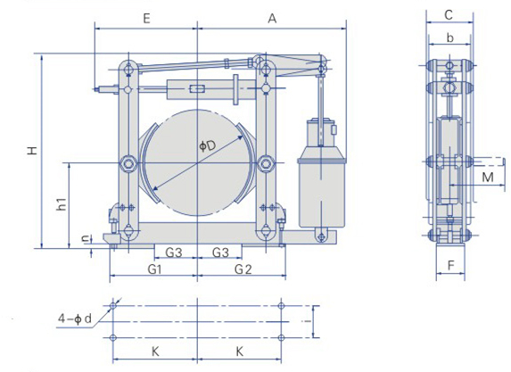 kích thước phanh thủy lực ywz4-yt1